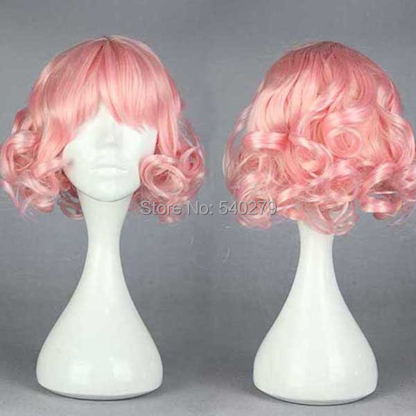 Harajuku Anime Cosplay Wigs Heat Resistant Women Short Curly Pastel Pink Synthetic Hair Costume Wig Perucas women party - HD online Store store