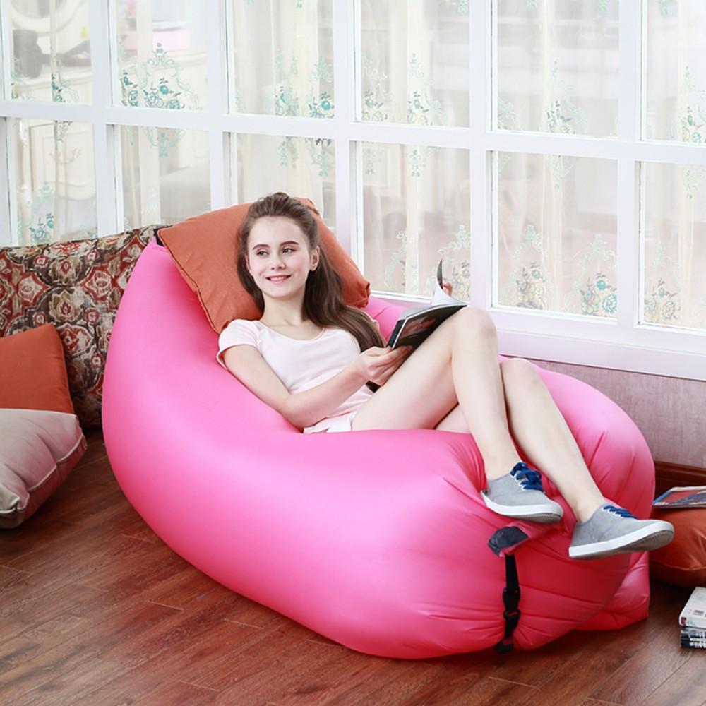 fashion fast inflatable lazy sofa bag portable laybag sleeping bag air sleep camping bed portable nylon beach bed bearing 150kg