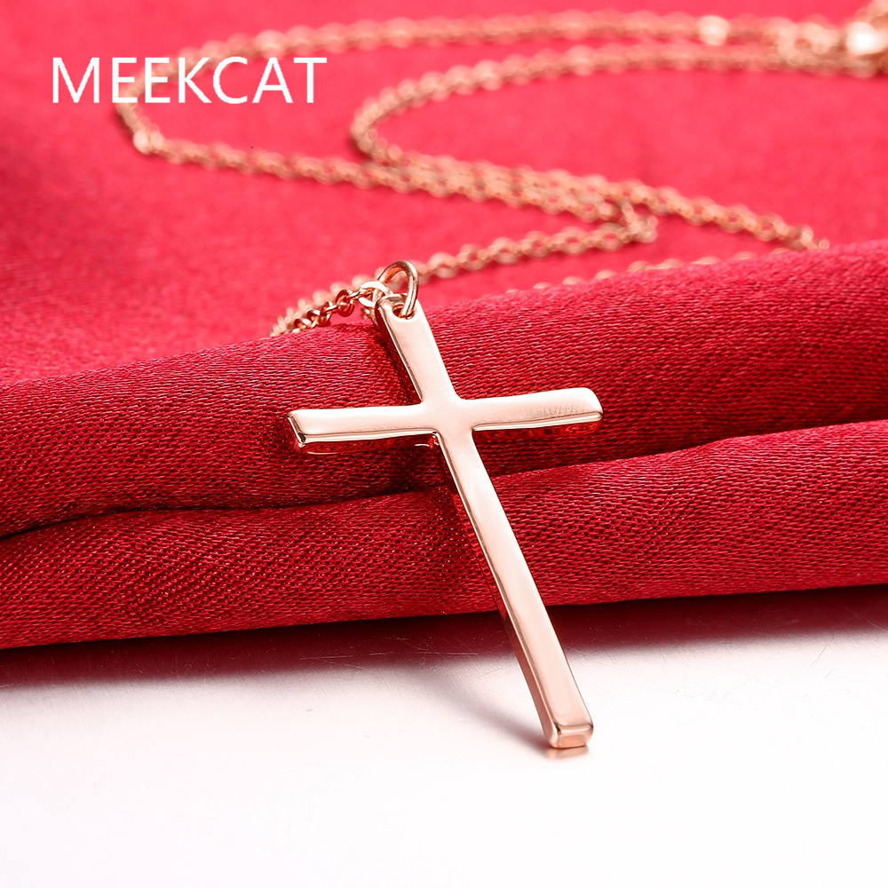 MEEKCAT Cross Necklace & Pendant Christian Statement Jewelry Wholesale Rose gold colour Chain Cross Necklace for Men gift(China (Mainland))