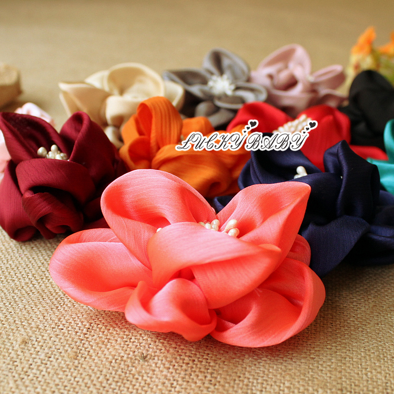 10 pieces Handmade Hot Sale Soft Fabric Flowers For Diy Girls Hats Clothes Decoration Flower Baby headbands Hair Accessories(China (Mainland))