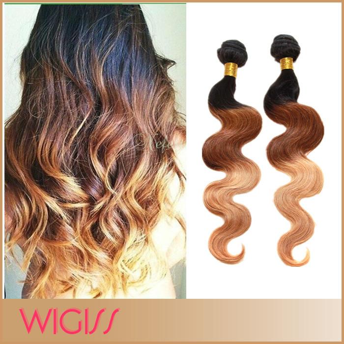 Peruvian Ombre Virgin Hair Three Toned 1b/33/27# Body Wave Ombre Human Hair Extensions 10''-30'' 1pc/Lot Wigiss H6047AZ(China (Mainland))