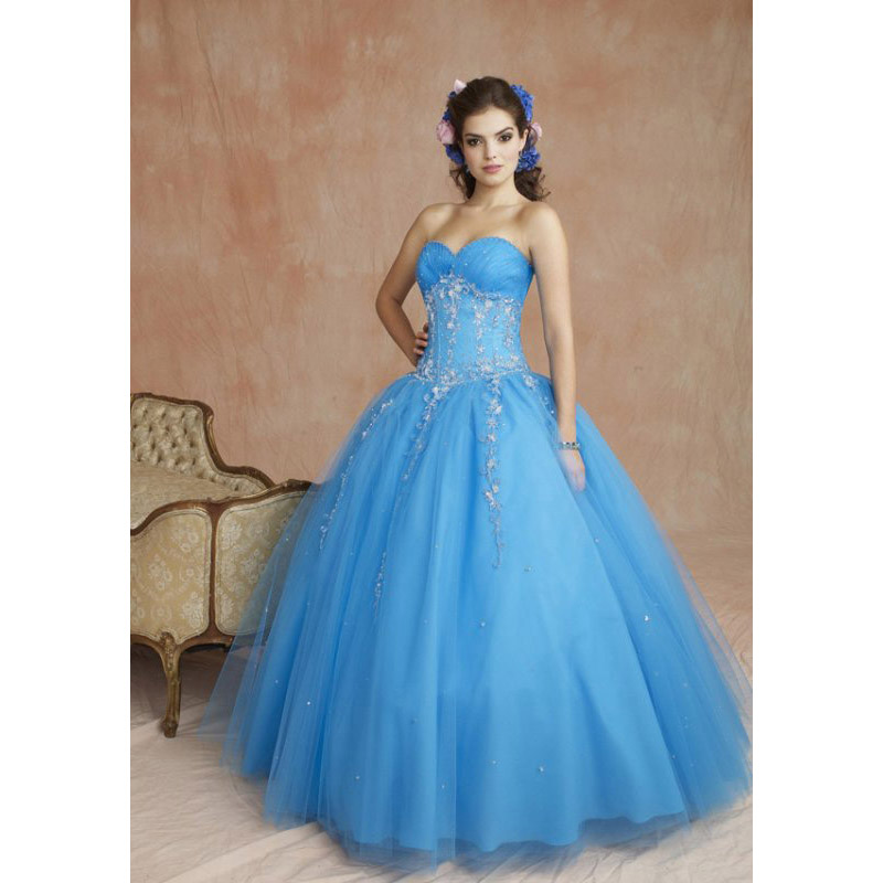 New Designs Quinceanera Dresses 2016 Blue Ball Gown Beaded