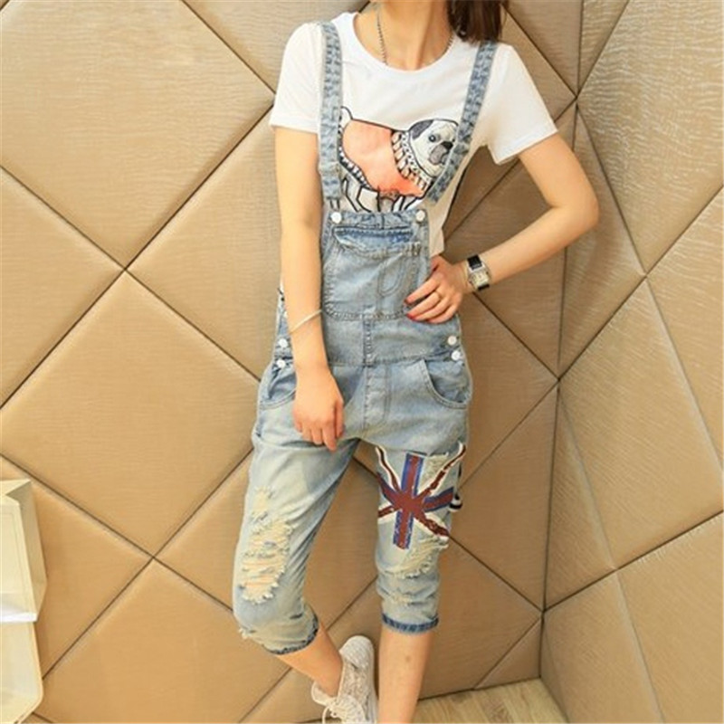 Women's Print Cropped Trousers Hole Capri Bib Pants Ripped Jeans Female Denim Cotton Rompers Overalls Asian/Tag Size S-XL(China (Mainland))