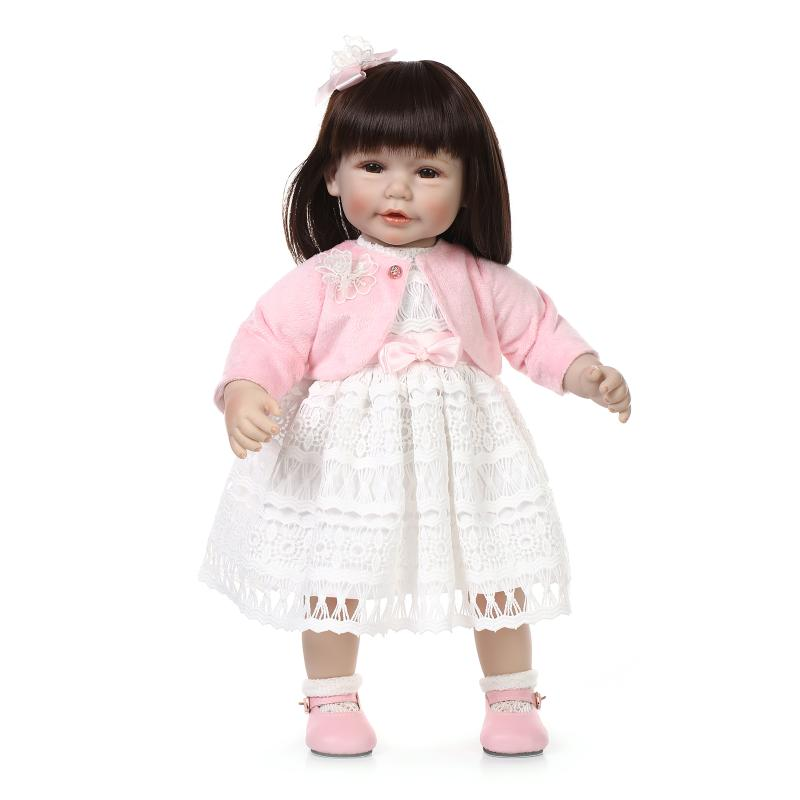 Фотография 20 inch 50 cm Silicone baby reborn dolls,The new cute hair dressing dolls could stand to sit. Doll Girl Toy Gift