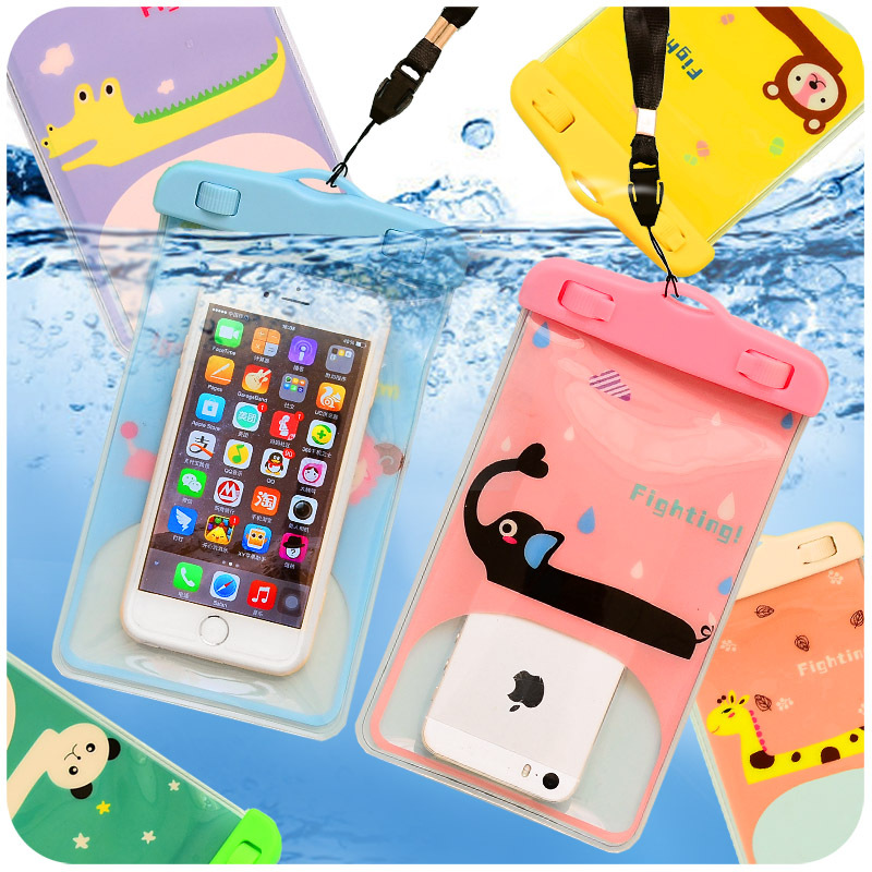 Wholesale Cute cartoon Waterproof Pouch 5.7 Soft Sleeve Bag Case Cover Pouch For mobile phone waterproof  PVC diving bag for kid