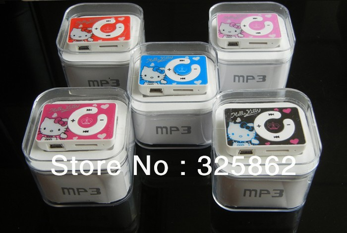 10pcs/lot 100% New Band cheapest fashion mini clip hello Kitty MP3 player support TF card with Box&usb cable&earphone(China (Mainland))