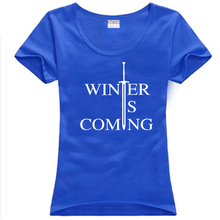 new 2014 free shipping Game of Thrones Stark Winter Is Coming Two Swords print letter woman women female sport plus size T-shirt