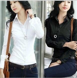 2013New Fashion Women's Long Sleeve Cotton Blouse Ladies' Shirt,Black/White/Free Shipping,