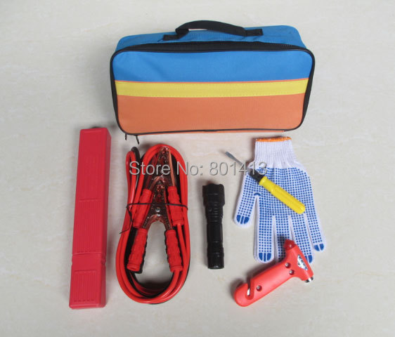 (ACE-311) Trade Assurance Plastic gloves Foldable triangle Car Safety Emergency Tool Kit(China (Mainland))