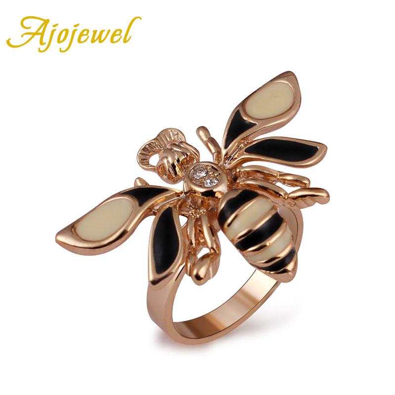 261 Ajojewel Size 6/7/8/9 Trendy Animal Jewelry Enamel 18K Rose Gold Plated Bee Ring Women(China (Mainland))