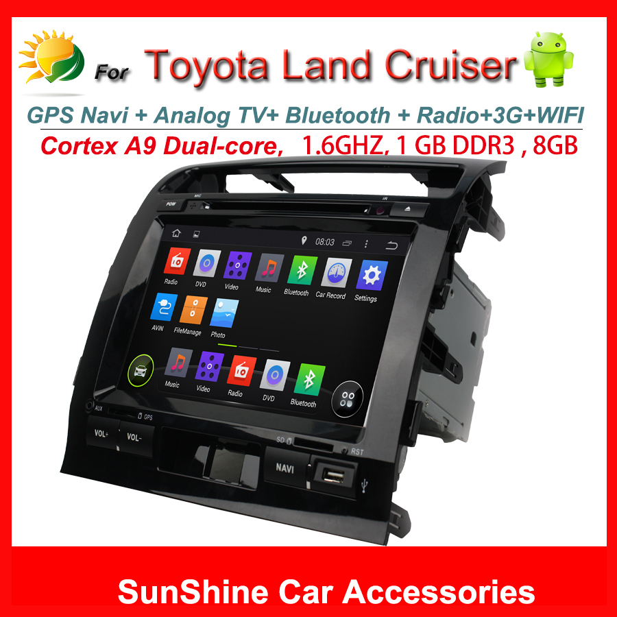 """2 din 9"""" HD Capacitive screen android 4.4 car stereo for Toyota land cruiser navigation system 3G WIFI AUX OBD ii DVD Player(China (Mainland))"""