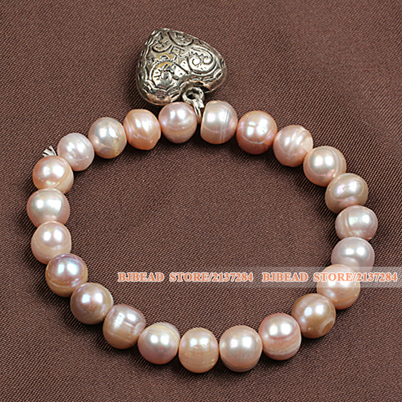 Best Gift Simple Elegant Style Natural Pink Freshwater Pearl Elastic/ Stretch Bracelet With Tibet Silver Heart Shape Charm(China (Mainland))
