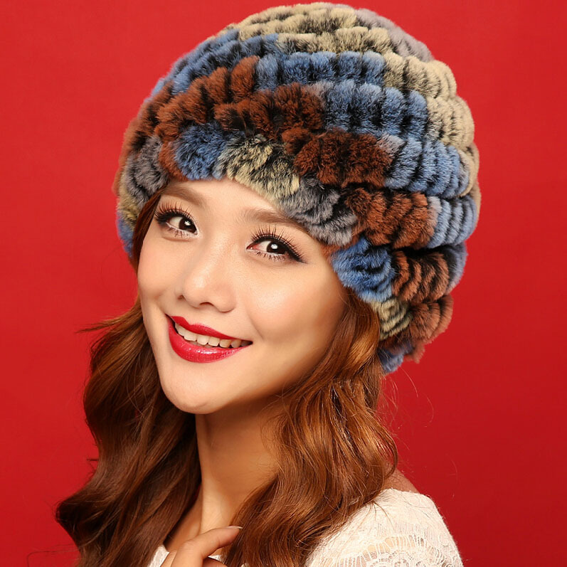 2015 new arrive colors fashion women winter knitted rex rabbit fur hats caps for cold winter Russia elastic lady natural fur hat(China (Mainland))