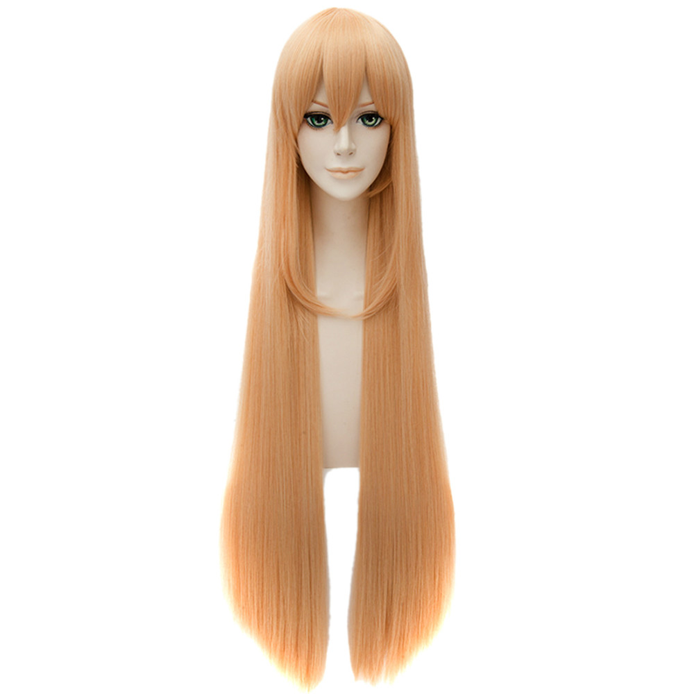 Women Fashion Cosplay Wigs Orange Straight Anime Haircut Long Synthetic Full <br><br>Aliexpress