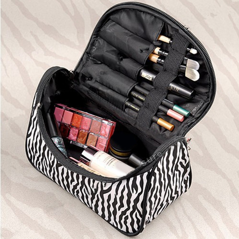 2016 Fashion Women Toiletry Bag Women Makeup Cosmetic Organizer Pouch Bag High Quality Storage Bag Zebra Strips Dollar Price(China (Mainland))