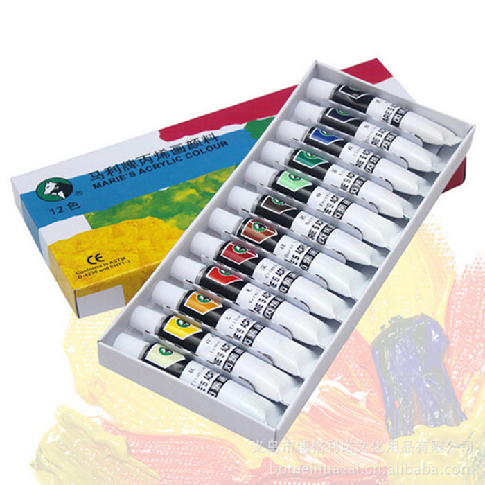 12pcs/set Acrylic Paint Clothes Hand Painting Wall Nail Paint for Artist Drawing Painting(China (Mainland))