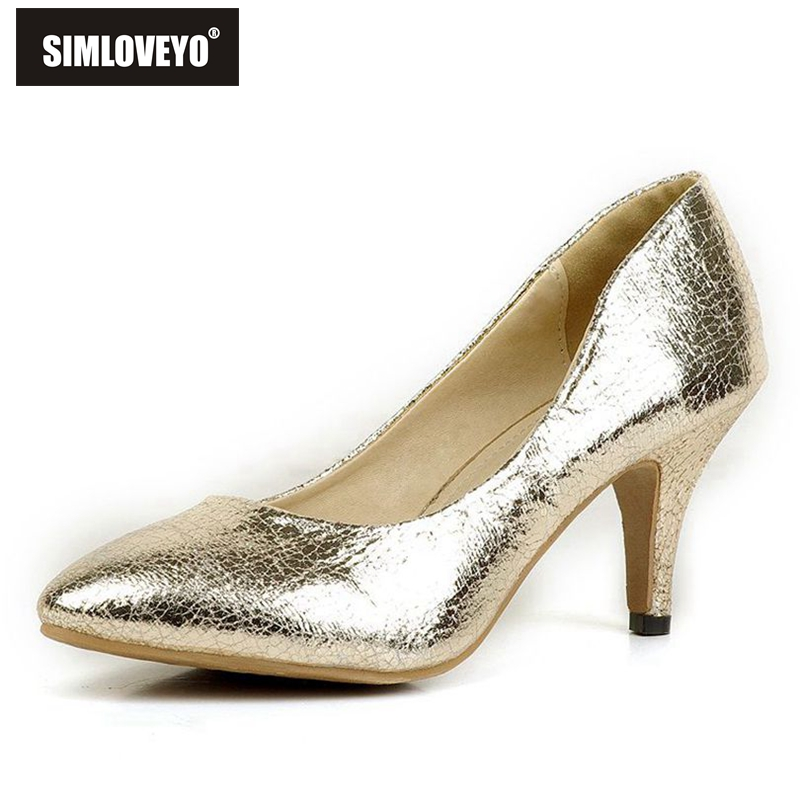 2015 New Spring Women shoes Pumps Pointed toe Embossed leather Thin heels Gold Silver Glitter Fashion Casual Zapatillas mujer(China (Mainland))