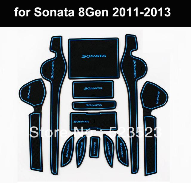 Free Ship For Hyundai YF Sonata 8 Gen 2011 2012 2013  Silicon Non-Slip Interior Door Mat Cup Mat  13pcs- Blue