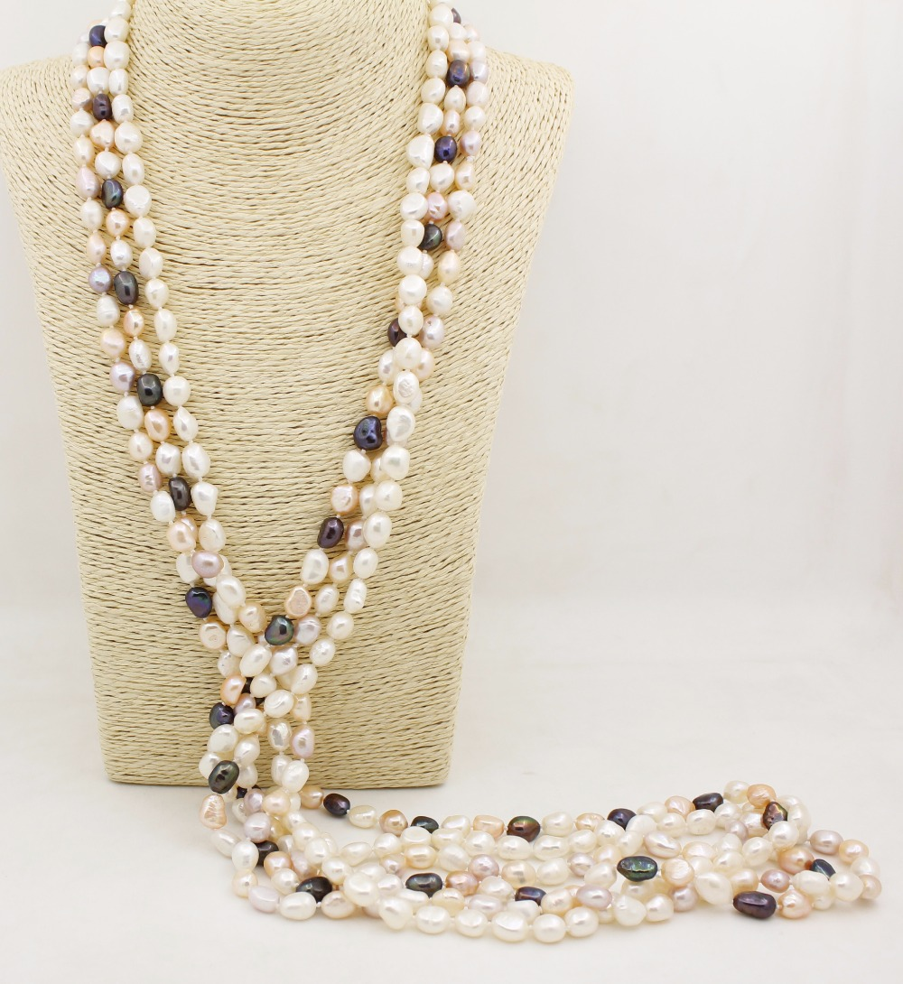 """1 strand 46"""" long 8mm*10mm white pink lilac black baroque pearl stone handmade necklace(China (Mainland))"""