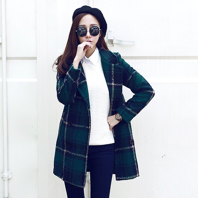 Autumn Winter Women Coat Double Breasted Turn Down Collar Pocket Wool Coats Jackets Fashion Women Outerwear Women Long Clothes