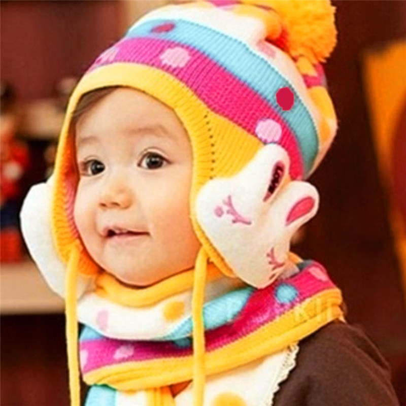 Winter Baby Bomber Hat with Ear Flaps Bunny Rabbit Shaped Knit Wool Baby Hat and Scarf(China (Mainland))