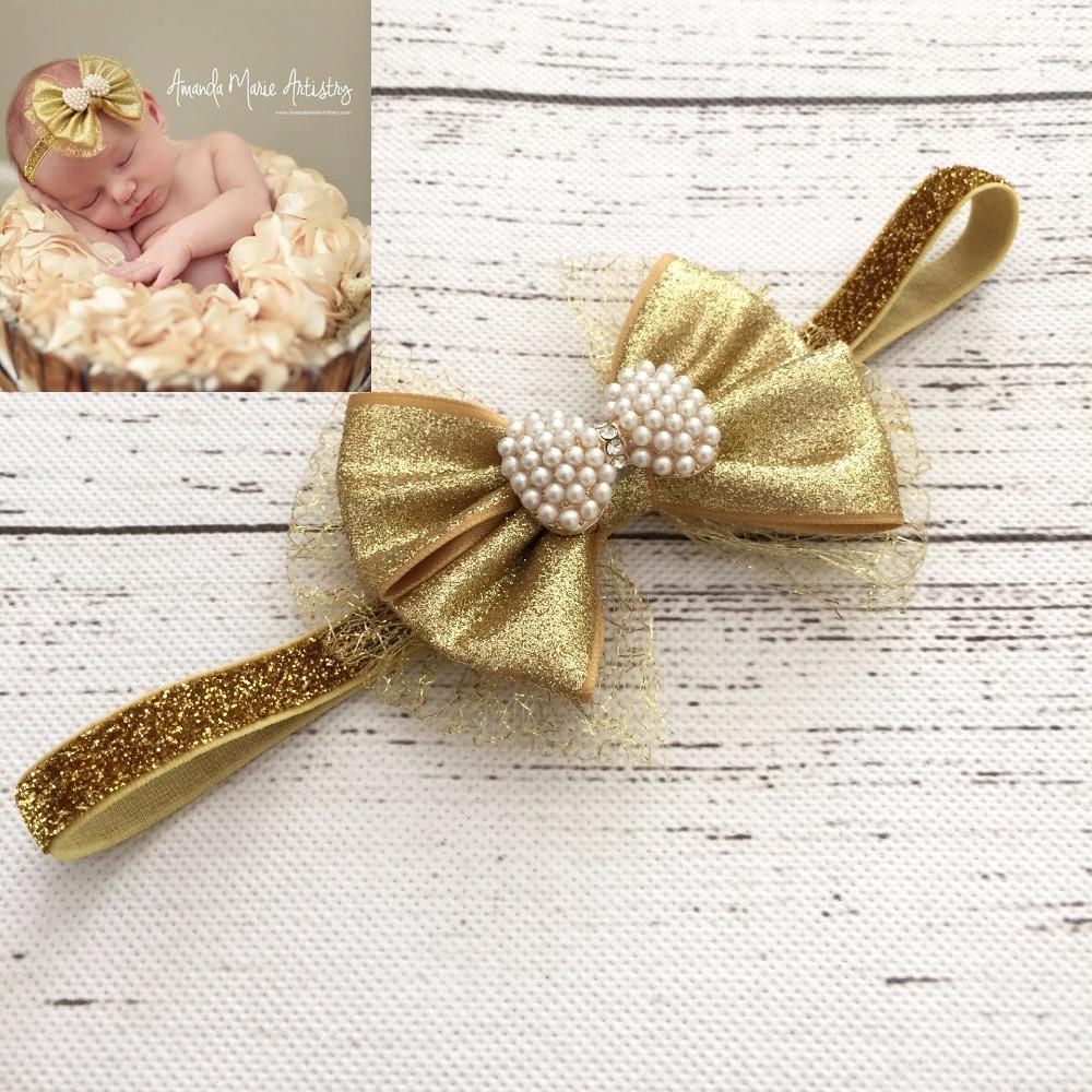 10Pcs/lot New Tollder Infant Newborn Gold Organza Pearls Bow Glittler Headbands Baby Hair Accessories(China (Mainland))