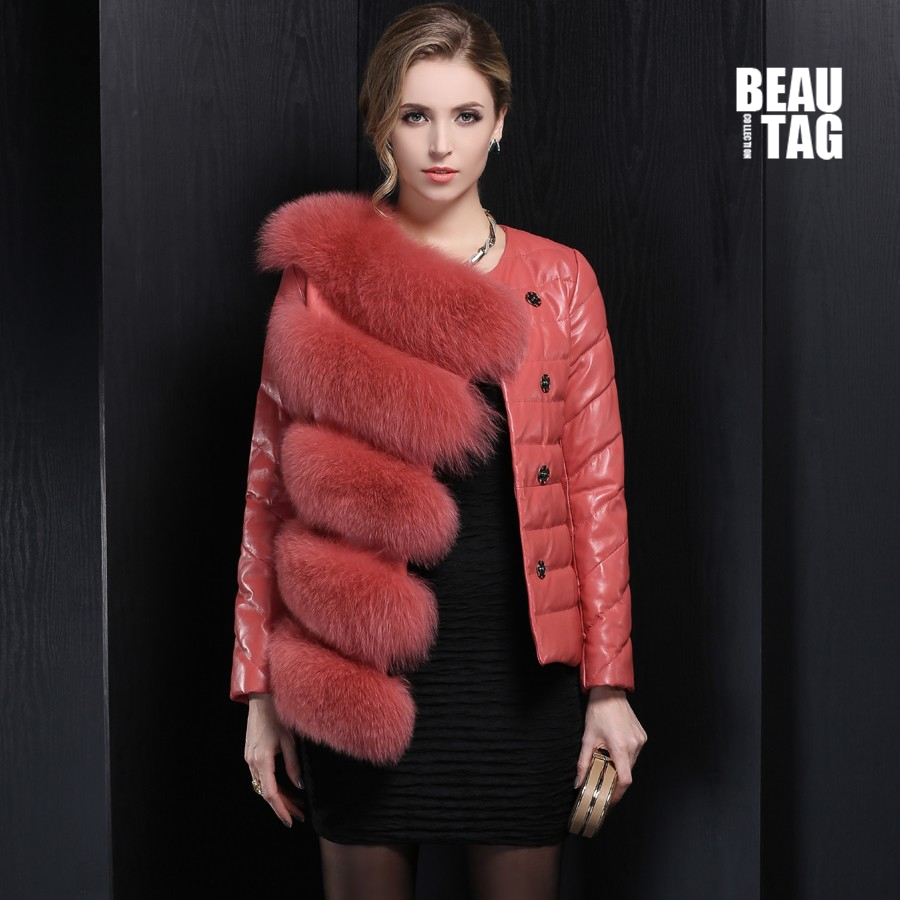 2015 Winter Genuine Fox Fur Leather Jacket Women Coat Luxury Sheepskin Female Goose Down & Feather Slim Clothing Hot Sale(China (Mainland))