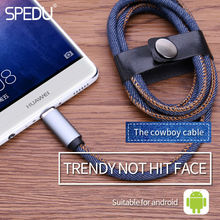 SPEDU Micro USB Cable Cowboy Braided Fast Charger & data Jean Cloth Cable mobile phone cables For samsung galaxy xiaomi huawei