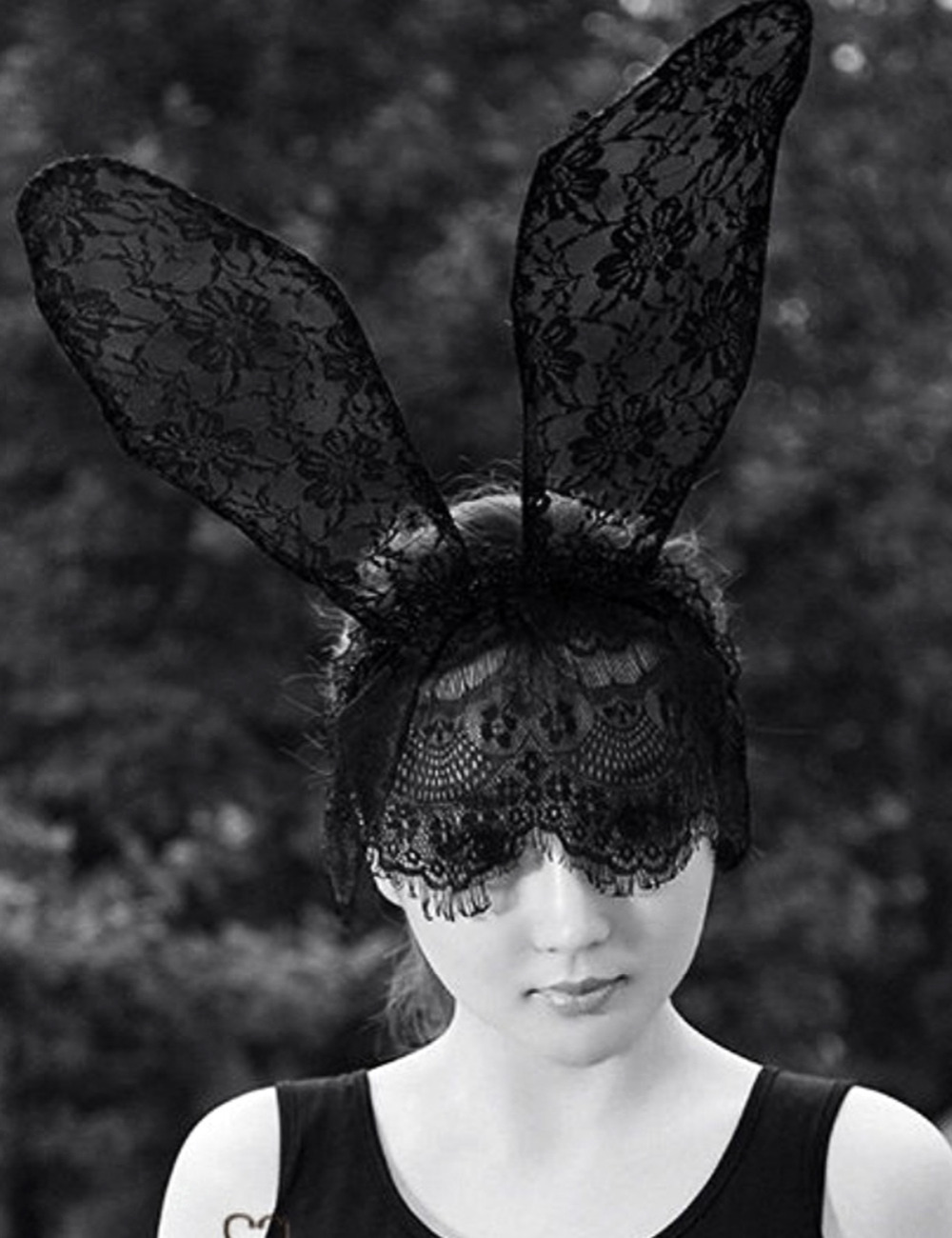 Fashion Women Girl Hair Bands Lace Rabbit Bunny Ears Veil Black Eye Mask Halloween Party Headwear Hair Accessories(China (Mainland))