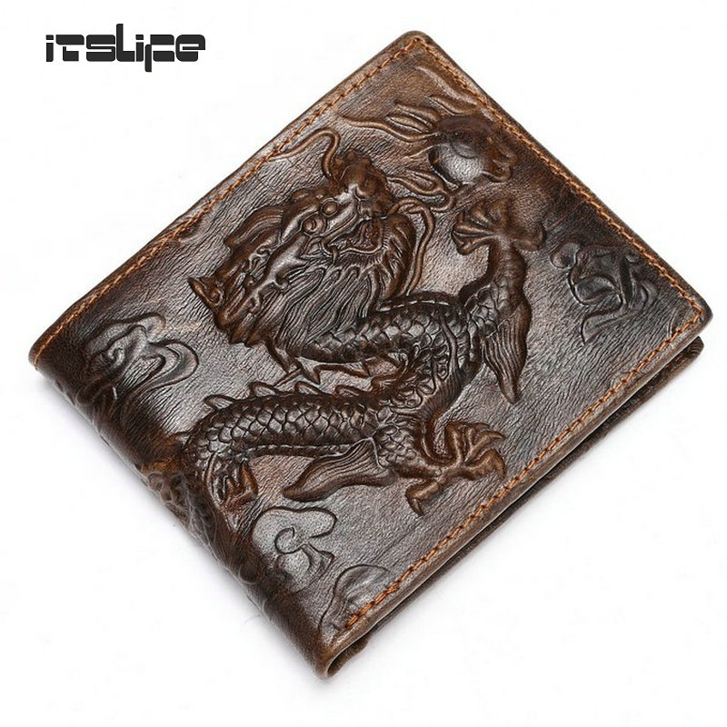 new fashion vintage top layer cowhide leather men wallet Chinese style dragon purse free shipping(China (Mainland))