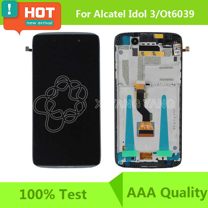 100% Test For Alcatel One Touch Idol 3 OT6039 6039 6039A 6039K 6039Y LCD Display Touch Screen Digitizer or 6039 LCD Frame Black(China (Mainland))