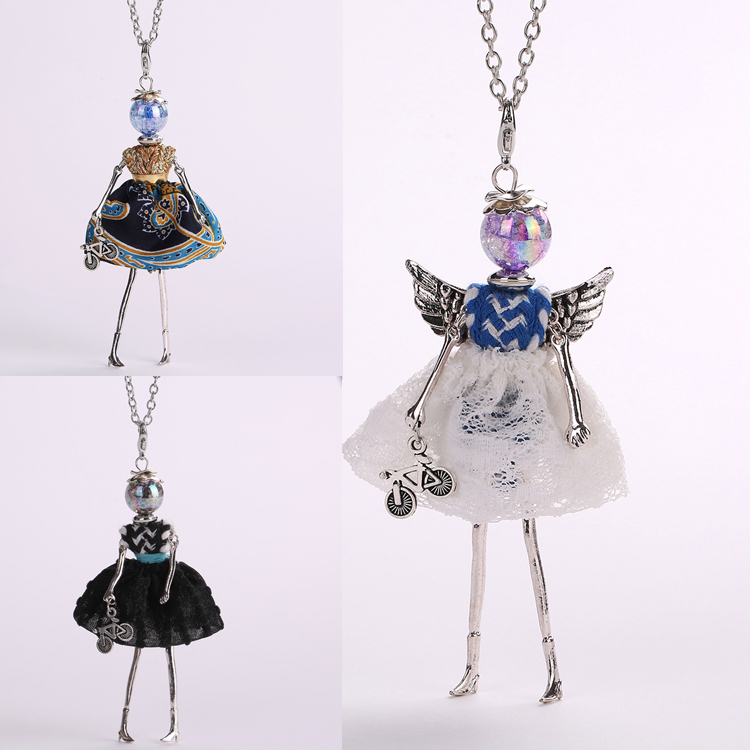 The new doll angel wings pendant necklace female romantic bicycle accessories free shipping fashion jewelry multicolor dress(China (Mainland))