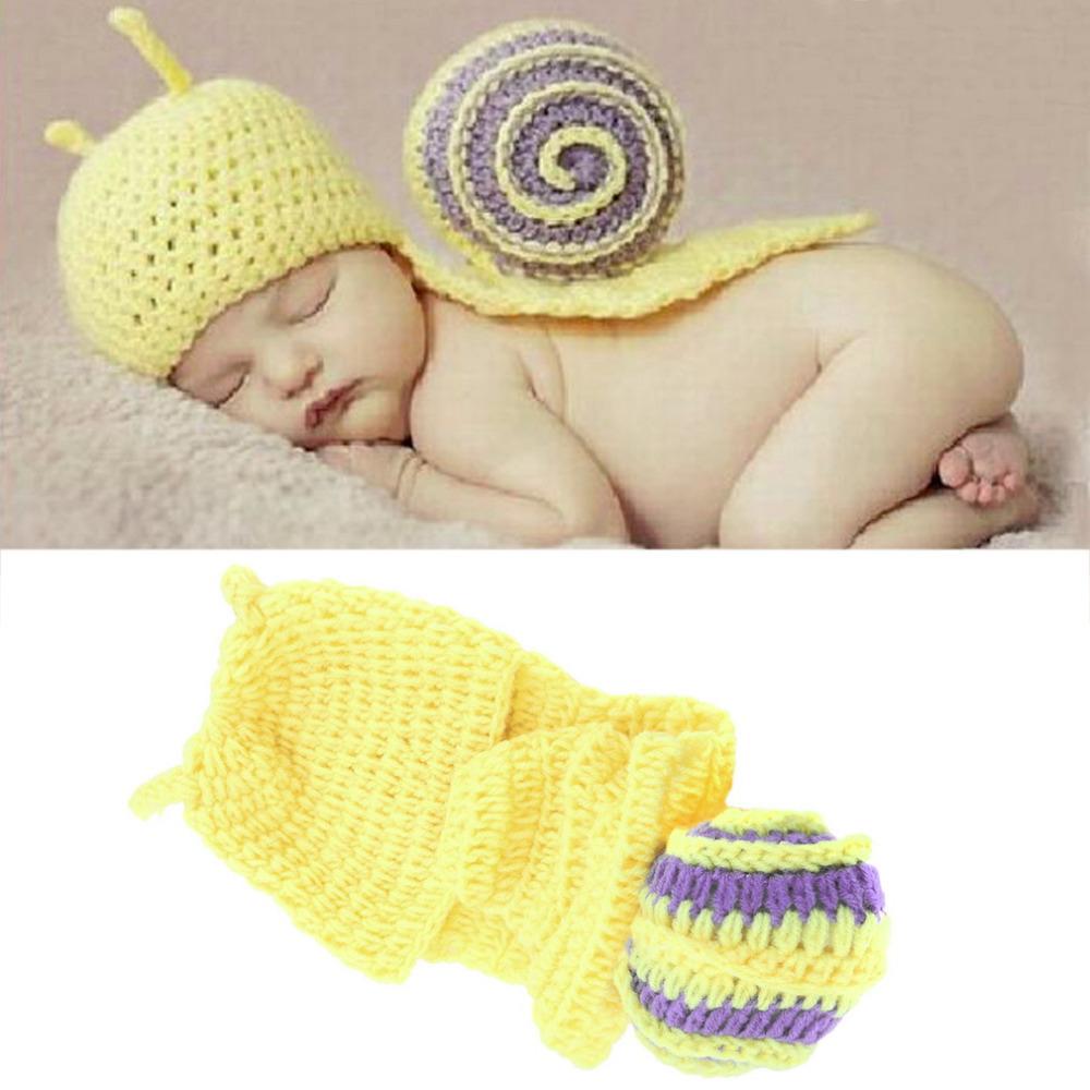 New Infant Baby Crochet Snail Hatsborn Photography Prop Boy Beanies Cap Hot(China (Mainland))