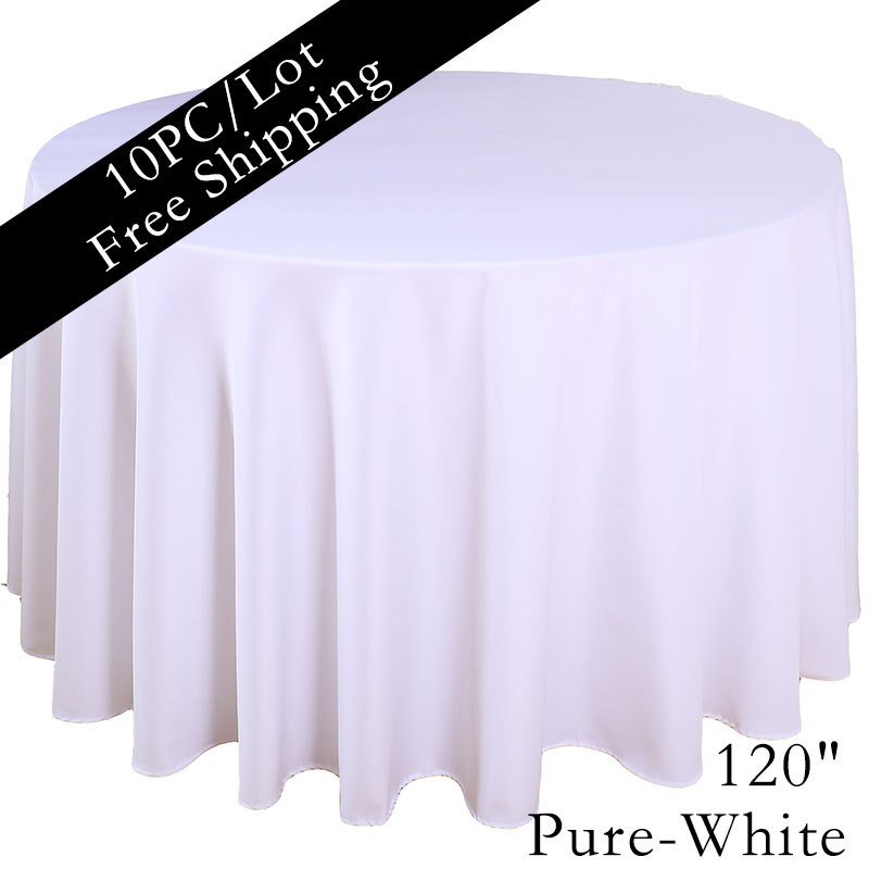 "Wholesale 120"" Round Polyester white Table Cloth Plain wedding table linen Table Cover for Wedding(China (Mainland))"