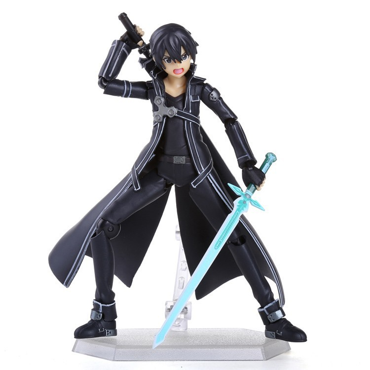 Anime Sword Art Online S.A.O Kirito Action Figure Toys 15cm Kirigaya Kazuto Figma PVC Action Figure Collectible Model Toy 3 Face(China (Mainland))