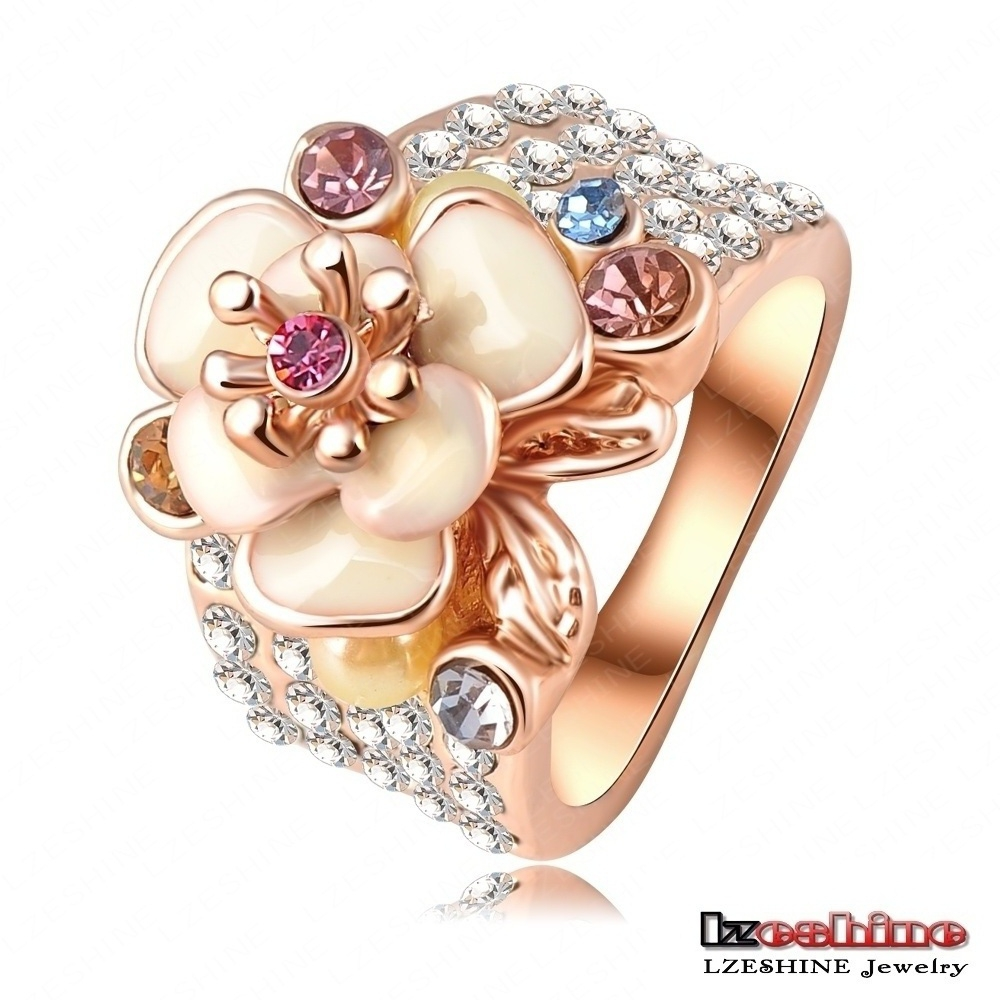 LZESHINE Hot Sale Jewelry Ring 18K Rose Gold Plate Austrian Crystal Enamel Flower Wedding Ring For Women aliancas Ri-HQ0155(China (Mainland))