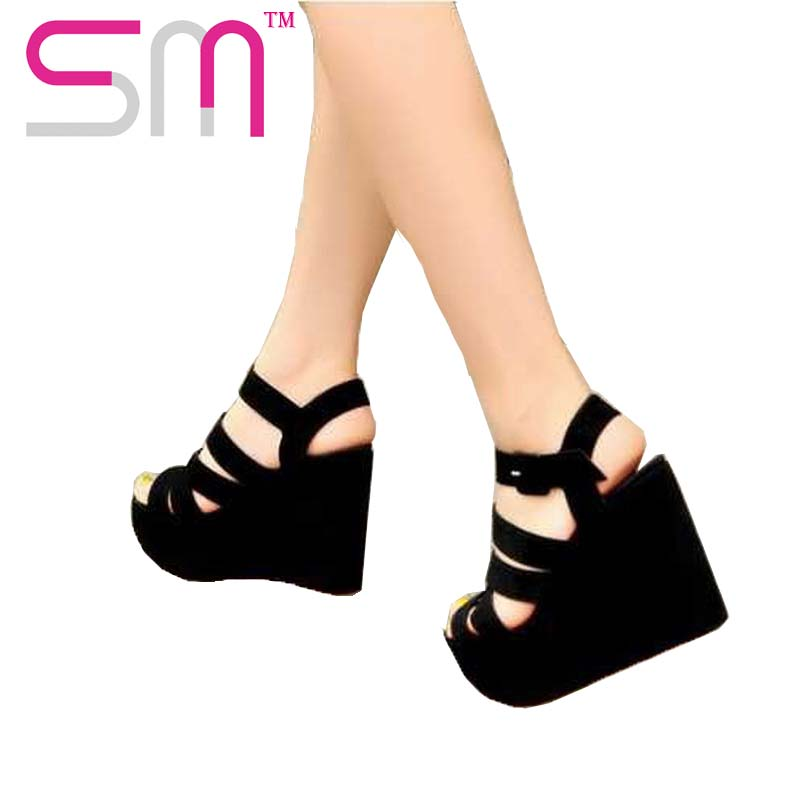 2015 high platform wedges open toe cross bandage gladiator women summer sandals vitnage women summer shoes