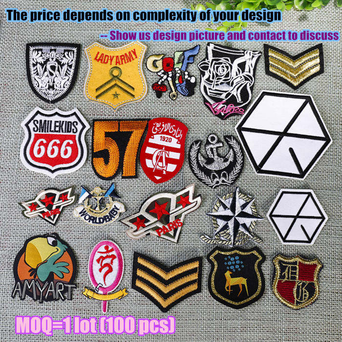 Personalized iron embroidered custom patches embroidery custom logo military badge tag 100pcs lot(China (Mainland))