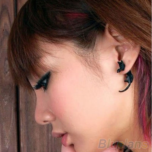 1 PCS Popular Long Tail Small Leopard Cat Puncture Girls And Boys Stud Earrings for Men Women 02RZ 2OFS(China (Mainland))