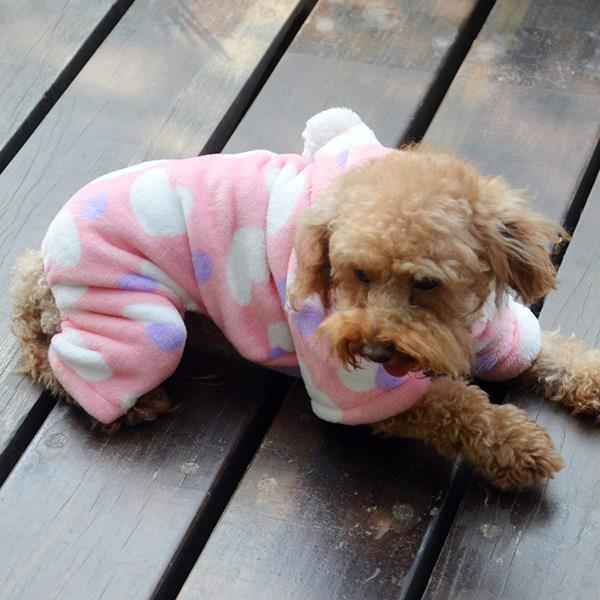 Winter Jumpsuit Clothes Pet Dogs Heart Hoodie Costume Fleece Cat Warm Soft Coats Wholesale(China (Mainland))