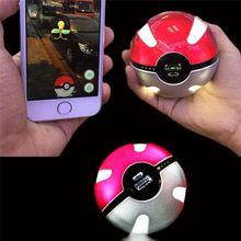 hot sales Poke mon Go Poke Ball Shape 10000mAh Power Bank USB LED External Battery Charger