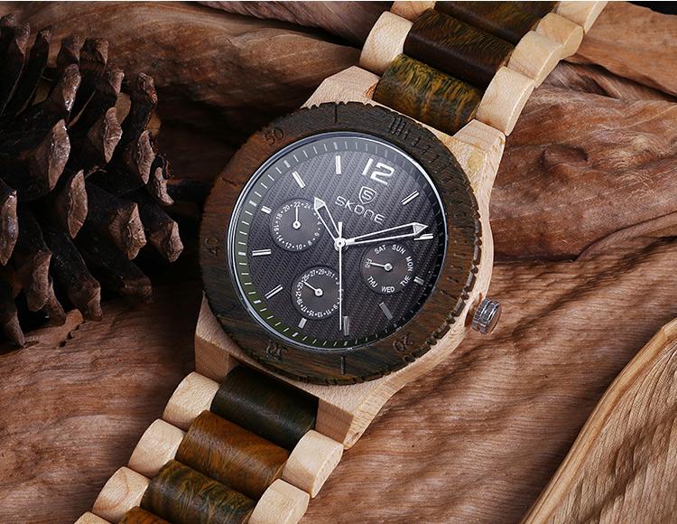 2016 Новый SKONE Новый Кварц Деревянные Часы Топ Люксовый Бренд Дерева Часы Для Мужчин Простые Аналоговые Наручные Часы