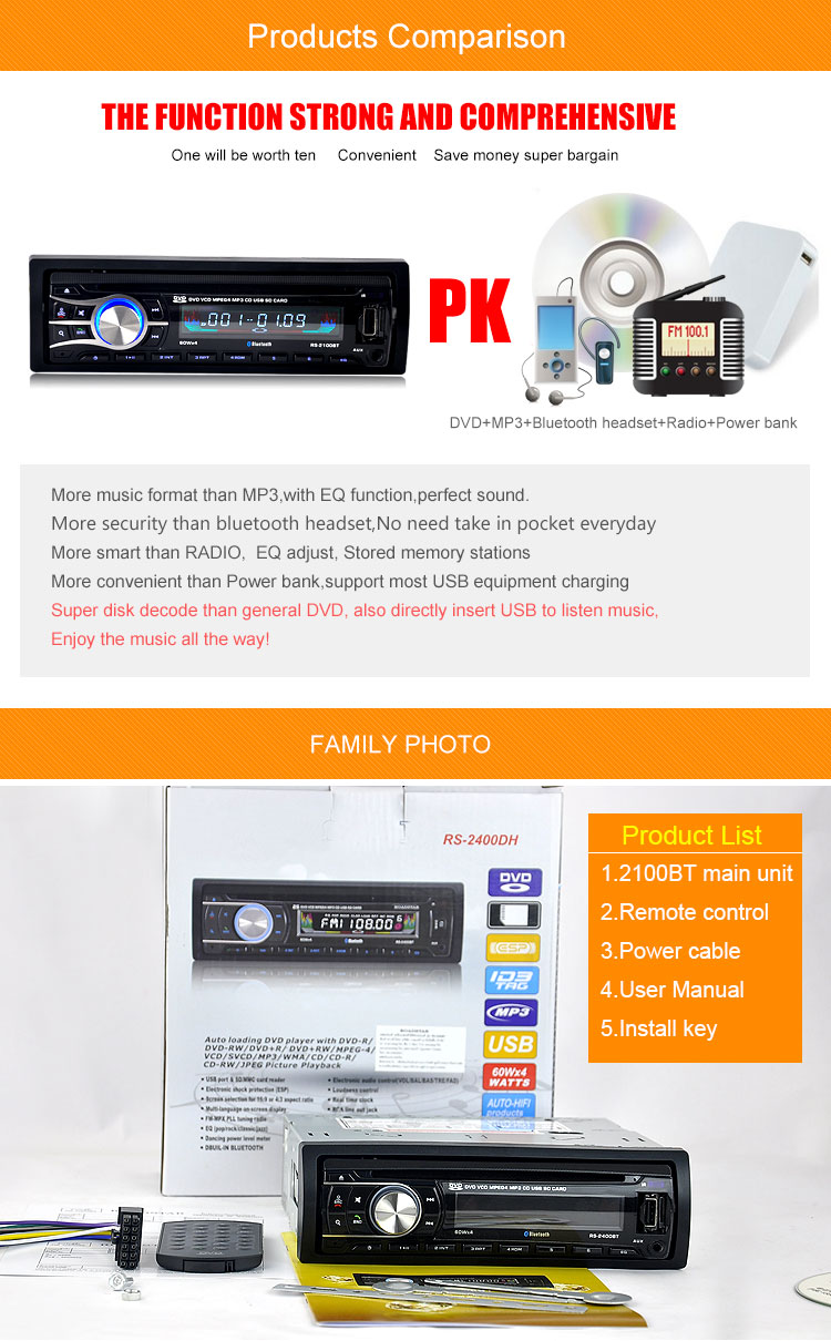 2016 New 12V Car CD DVD Player Stereo FM Radio MP3 Audio Player Support Bluetooth Phone with USB/SD MMC Port In-Dash 1 DIN 2100