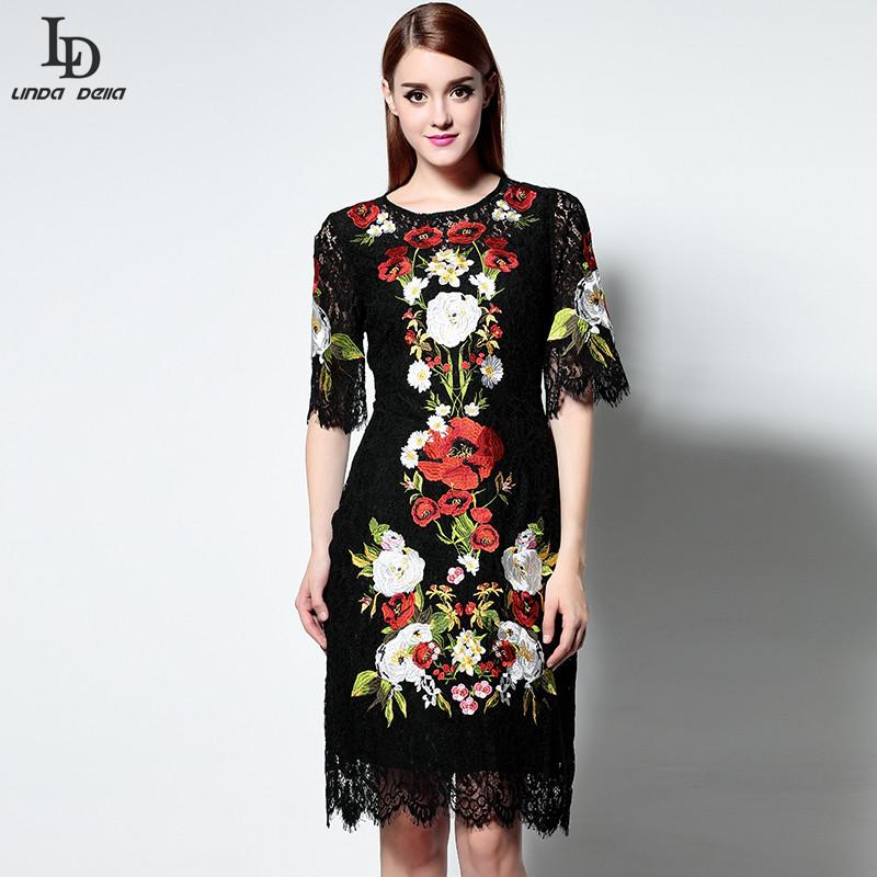 New fashion black lace dress runway designer women knee