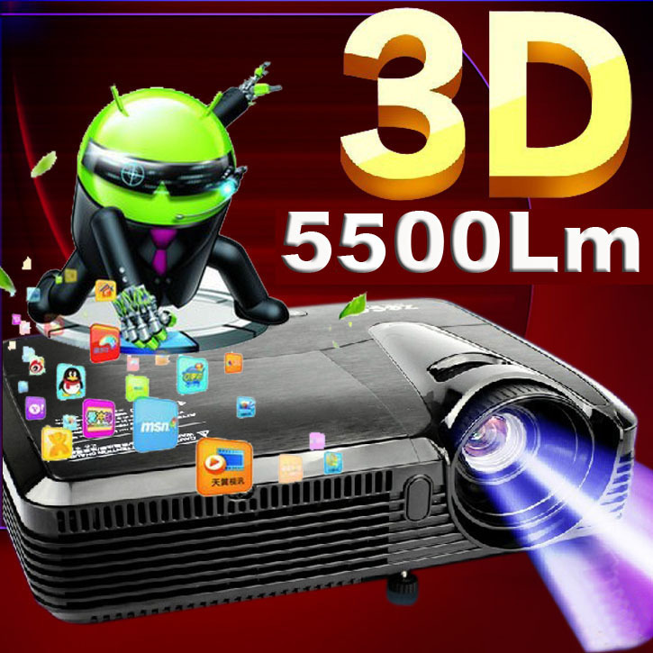 High Contrast 5500Lm Quad core Android 4.4 HDMI Home Theater Daylight Holographic Night Street Education Rear 1080P 3D Projector - WZATCO Online Store store