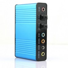 Free Shipping 2014 Hot Deal New 1Pcs Blue 6 channel 5.1 External Audio Music Sound Card Soundcard For Laptop PC Free Shipping(China (Mainland))
