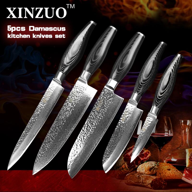 2016 xinzuo 5 pcs kitchen knives set damascus kitchen knife japanese