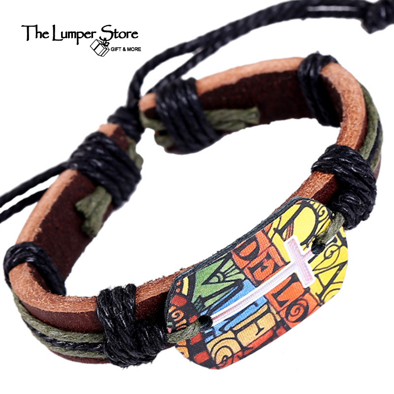 Europe America new hot selling genuine leather fine jewelry retro punk bracelets charm non-mainstream fashion personality gift(China (Mainland))