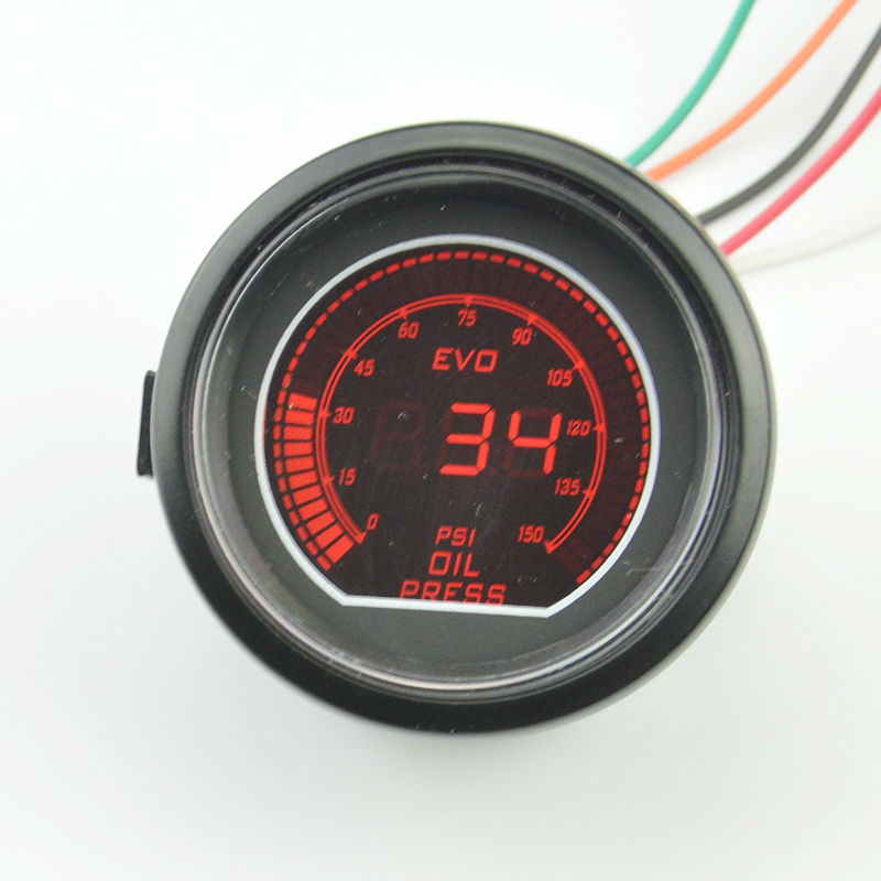 Black Shell 2 inches car oil pressure gauge LCD digital red/blue blacklight sunglasses piece auto meter(China (Mainland))