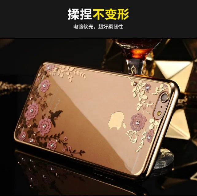2016 Newest Fashion Luxury Secret Garden Flower Diamond Bling Soft TPU Back Case Cover For Apple iPhone 5 5s 5SE 4 4s Capa Para(China (Mainland))